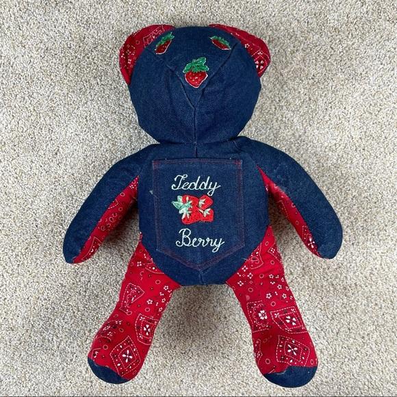 Vintage 1989 strawberry denim bandanna teddy bear